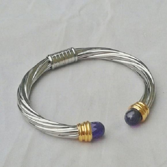 5f128e090c7 T&T Jewelry | Tt Stainless Steel 18k Amethyst Cable Bracelet | Poshmark