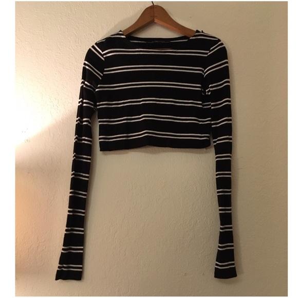 13434871dcfe59 Zara Tops | Striped Long Sleeve Crop Top From | Poshmark