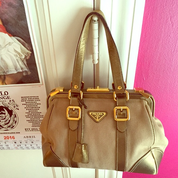 HOLD ~ Prada Canvas   Leather Trim Frame Bag 👜. M 5701242fa88e7d685e0bf2c7 e7f3eba40deac