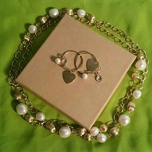 Gold and White Pearl Bead Necklace and Earring Set