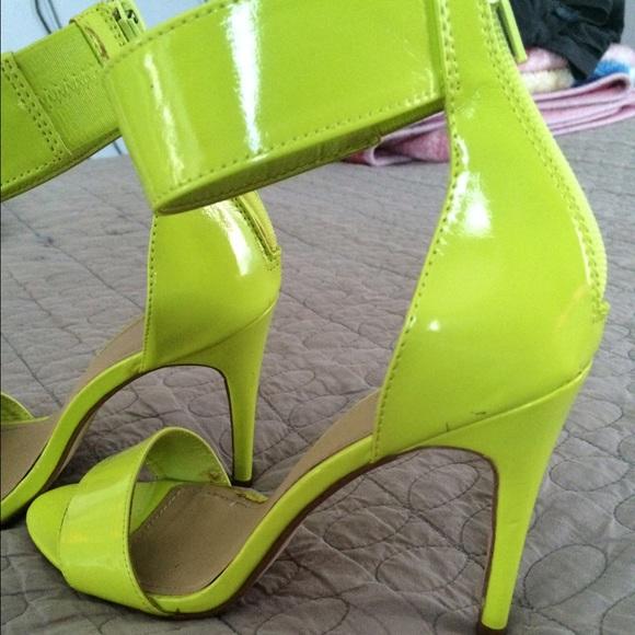 4d1e6f9308740a H M Shoes - Lime green sandal heels neon
