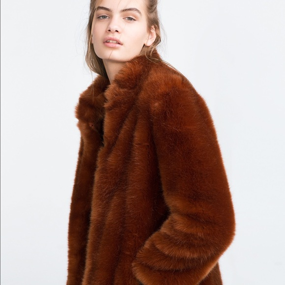 8828ee01038d Zara Jackets & Coats | 50 Off Sale Burnt Orange Faux Fur Coat | Poshmark