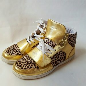 creative recreation Shoes - Gold High-top lace-up Sneakers