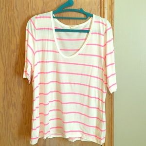 J crew cotton tee with neon pink stripes