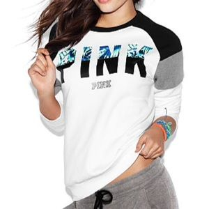 PINK Victoria's Secret Sweaters - XS Fern Colorblock Perfect Crew