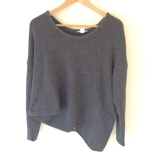 Helmut Lang Gray Asymmetrical Knit Sweater Large