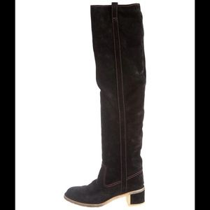 Chanel suede boots. Black. U.S. 9. 39