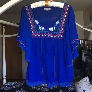 Blue boho embroidered top