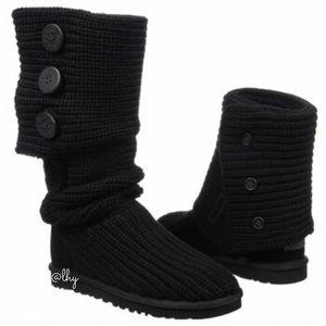 UGG CARDI BLACK KNIT BOOTS - SZ7