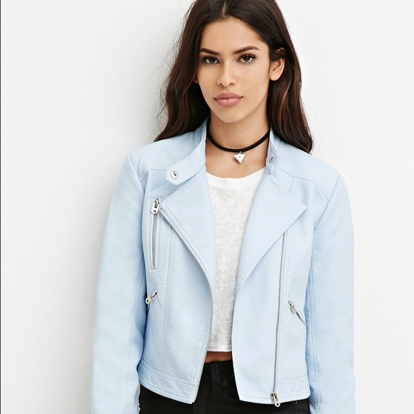 🎉flash sale Forever 21 powder blue leather jacket