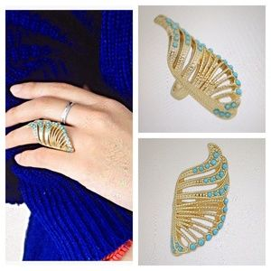 Turquoise & Gold Plated Angel Wing Ring-Size 8-New