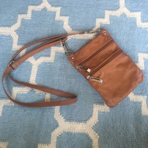 Small cognac leather crossbody bag