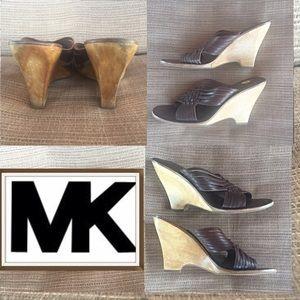 Michael Kors MK Sold Leather Wood Wedge Sandal 7