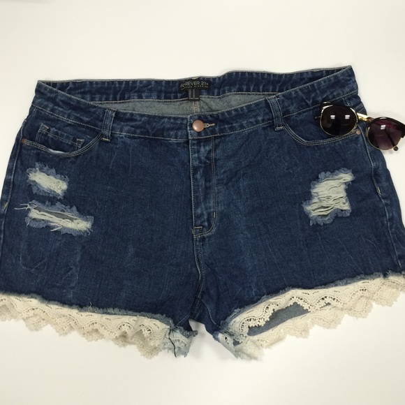 67% off forever 21 pants - distressed denim shorts with lace trim