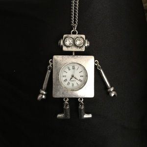 Robot Clock Necklace