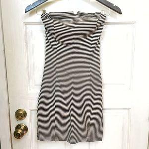 Strapless Striped Club Monaco Dress