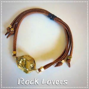 Gold Nugget Leather Bracelet