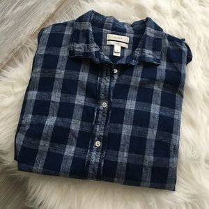 J. Crew Tops - J.Crew boy shirt in indigo plaid