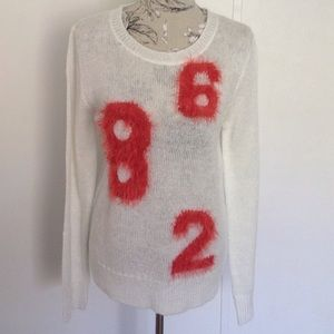 Sweater Project White Shimmer Fuzzy Numbers L