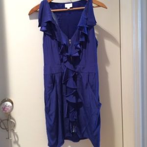Cinched blue silk dress with ruffle and pockets