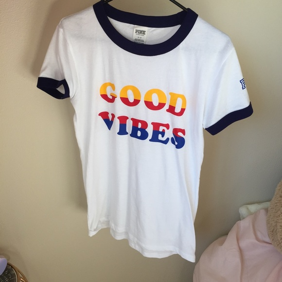 PINK Victoria's Secret - PINK VS Good Vibes Ringer Tee from Ash's ...