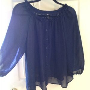 H&M blue sheer Crop top blouse