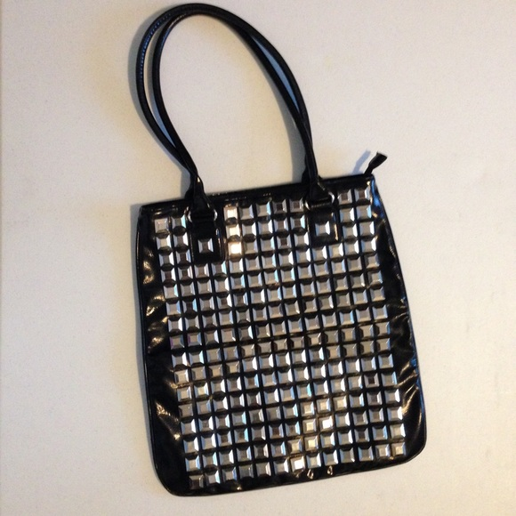 Forever 21 Handbags - Forever21 Silver Studded Patent Leather Tote