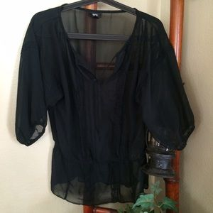 Black Sheer Top with Gathered Waist Detail