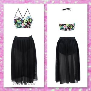 54ec9e624a5 Glam Squad 2 You Swim - 🆕2pc Bathing Suit CageFloral Top   Skirt Set