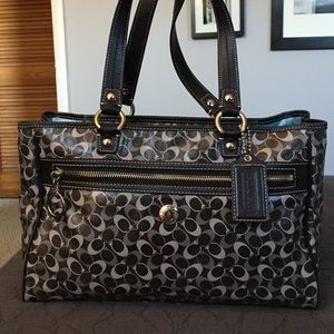 Coach Handbags - Coach Gray Coated Canvas and Leather Tote Bag