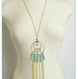 Boho chic gold & turquoise bead long necklace
