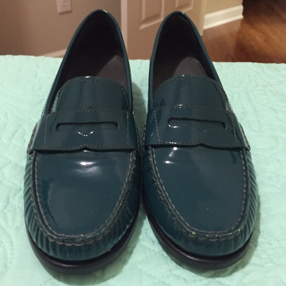 Cole Haan Teal Patent Leather Penny Loafers