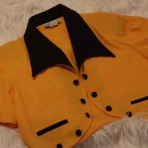 Vintage yellow cropped blazer (large) #vintage