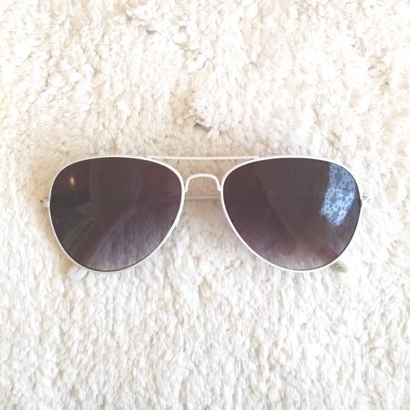 Accessories - White Rimmed Aviator Sunglasses dcfd386a5