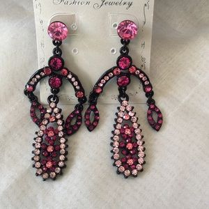 Chandelier earrings glam black pink and hot pink