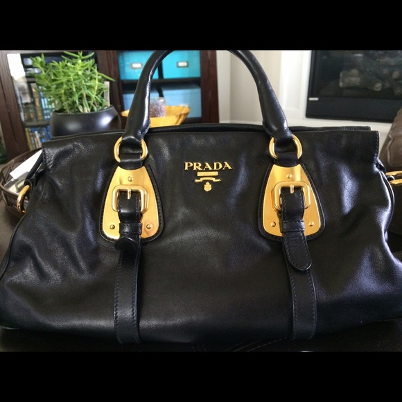 Prada Bags   Bauletto Soft Calf Leather Black Satchel   Poshmark 5e24c93bb0