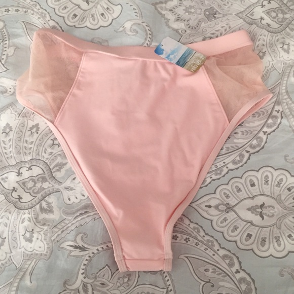 2dfd098570 Forever 21 Swim   Nudepale Pink High Waisted Bathing Suit Bottoms ...