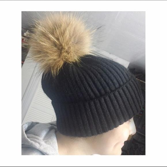 28ca697573889 Ribbed Knit Black Pom-Pom Hat
