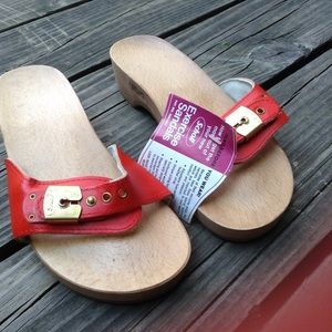 6502993e9acf Vintage Shoes - Vintage 70 s Dr Scholl s Red Leather Exercise Clog