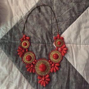 Jewelry - Red/orange beaded statement necklace