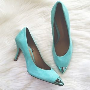Zara Shoes - Zara Blue Metal Capped Toe Heels