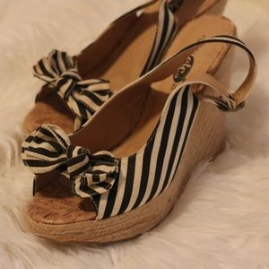 Black and white striped wedges (size 10) #rue21