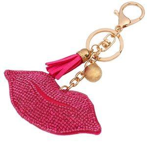 Hot Lips Rhinestone Keychain • Purse Charm