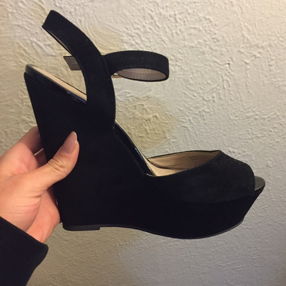 Faux Suede Black Aldo Wedges With Ankle