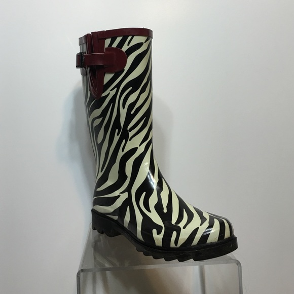 80% off Stone Creek Shoes - Stone Creek Rain Boots • Zebra Pattern ...