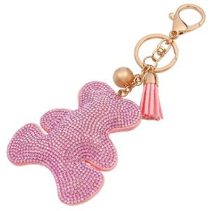 Pink Rhinestone Bear Keychain • Bag Charm