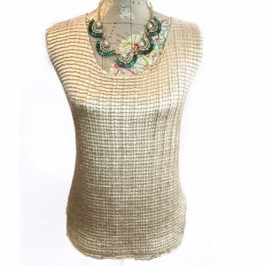 Champagne texture sleeveless Top