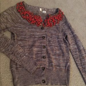 Anthropologie Cardigan with beading