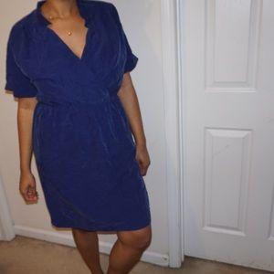 Blue Loft dress size 14 -Elastic waist.Wrap front