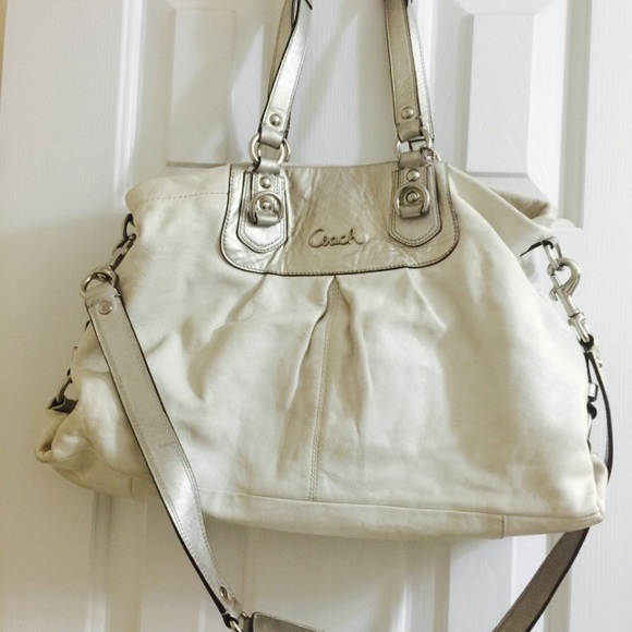 Coach Handbags - White (Silver) Leather Ashley Style Coach Purse f4c655296bee7